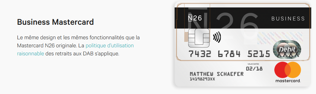 carte bancaire n26 business